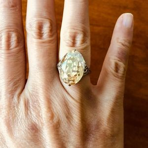 Vintage Light Peach Oval Cut 20 ct Ring